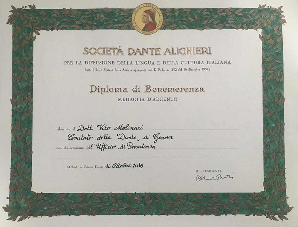 Premio per la cultura a Vito Molinari